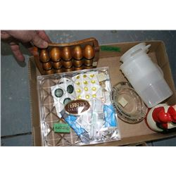 Flat w/Misc. Items - Button, Tupperware, Measuring Cups, Measuring Spoons, Foot Massager