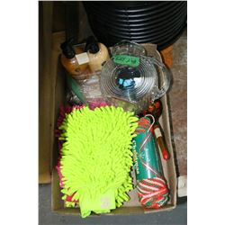 Flat of Mics. - Car Wash Mitts, Soap Dispensers, Water Pitcher, 6 Spoons