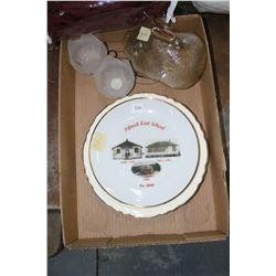 Flat w/2 Plates (First United Church, Fort Saskatchewan & Pibroch East School); a Glass Piggy Bank &