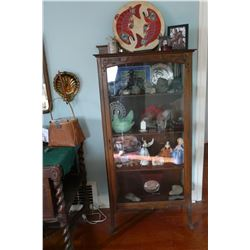 Four Tier Bookcase with Glass Sides & Door - Complete w/Beveled Mirror