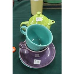 2 Fiesta ware Cups, Saucers and Teapot