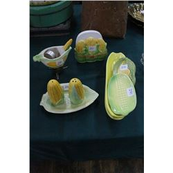Corn Cob Table Accessories (10 pcs) - Napkin Holder; Salt & Pepper; Butter Chafing Dish w/Brush, 3 C