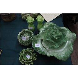 2 Covered Serving Dishes (1 Lettuce-1 Cabbage); Celery Salt & Pepper & a Candle Holder