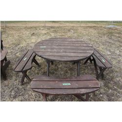 Lawn Furniture - Round Picnic Table & 4 Benches