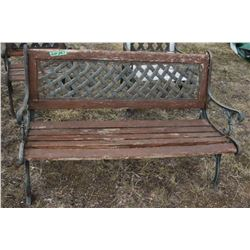 Lawn Furniture - Bench w/Cast Iron Arms & Legs - - Needs New Wood Slats