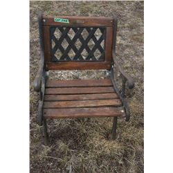 Lawn Furniture - 2 Chairs w/Cast Iron Arms & Legs - Needs New Wood Slats
