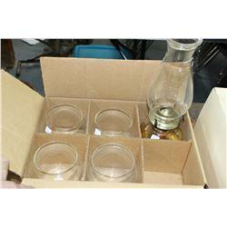 Box of (4) Coleman Lantern Globes & an Oil Lamp