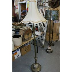 Antique Brass Floor Lamp w/Marble Base & Ornate Ivory Coloured Shade
