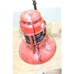 Dietz Lantern (Red Metal & Red Globe) No. 40 Traffic Gard (Marked City of Calgary) - Made in Syracus