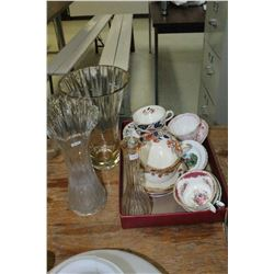 Flat w/Assorted China Cups & Saucers (some are mismatched); 2 Copeland Spode Soup Cups w/Saucers & 3