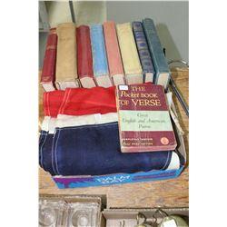 Flat w/Lrg. Fabric Union Jack Flag & 9 Books (Little Women, Poems, etc.)