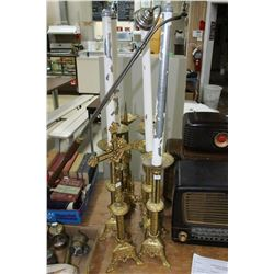7 Tall Metal Candleholders (Religious) - 4 w/Candles; a Metal Crucifix & a Tall Candle Lighter/Snuff