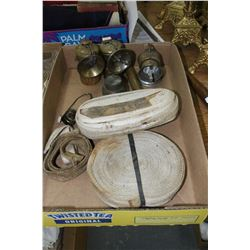Miners' Lamps (2); Brass Pump; Metal Tin; a Lamp Part & 2 Rolls of Lamp Wick