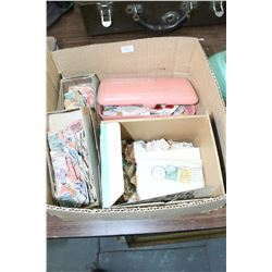 Box w/Used Postage Stamps