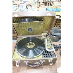 Pulwel Midget - Pollock Record Player w/Gramophone Style Arm; S/N 1150; Including 5 - 78 rpm Records