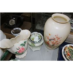 2 Vases (1 is Oriental theme & 1 Lovenden, England) and a Nippon Container w/Lid (lid as been repair