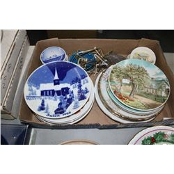 Flat w/Assorted Collector Plates (Smitty's Plates, Miniatures - Made in Denmark, Currier & Ives, etc