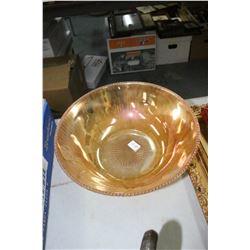 Iris & Herringbone Carnival Glass Serving Bowl