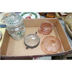 Flat w/4 pcs. of Glassware (Sugar Bowl, Butter Dish Cover, etc.)