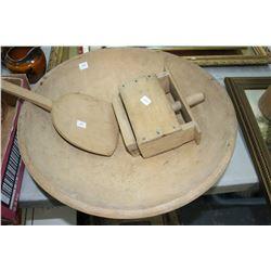Wooden Butter Bowl; Butter Paddle & Butter Press