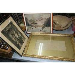 2 Framed Pictures and a Frame Inside a Wooden Pepsi-Cola Shell