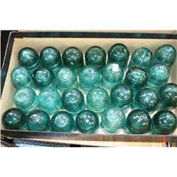 Box w/28 Green Brockfield Insulators (Small Size)