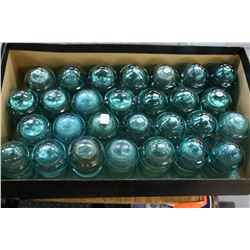 Box w/28 Green Hemingray #9 Insulators (Small Size)