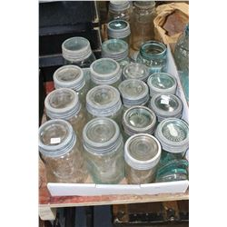 Flat w/Crown Jars - 1 Aqua Imperial Qt, 5 Aqua Qts, 4 Mauve Qts., 1 Aqua Imp. Pt, 4 Aqua Pts & 2 Mau