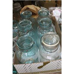 Flat w/6 - 2 Qt. Perfect Seal Jars - 5 Aqua and 1 Clear