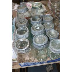 Flat w/Improved Gem Jars - 2 Aqua 2 Qt., 5 Aqua Qt., 1 Mauve Qt. & 4 Aqua Pts