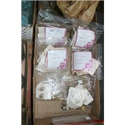 Flat of Costume Jewelry - 76 prs. of Earrings (Lip and Screw On) & 2 Bag of Misc. Jewelry
