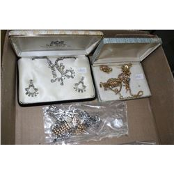 2 Sets of Rhinestone Jewelry (Necklaces & Earrings) & a Bag of Misc. Rhinestone Jewelry
