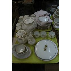 2 Trays of White w/Gold Trim Dishes (Nippon, Noritaki, etc.)