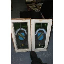 """2 Leaded Stained Glass Windows (Matching) - 12"""" x 24"""""""