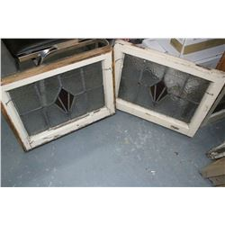 """3 Leaded Stained Glass Windows (Matching) - 16"""" x 20"""""""