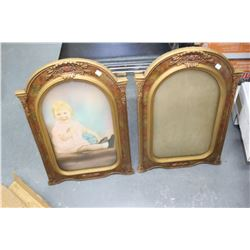 """2 Gilded Gold Type Pictures Frames (1 with Little Girl) 13"""" x 20"""""""