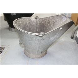 Coal Skuttle - Small Galvanized - Good Condition - No Holes