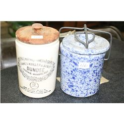 Vintage 'James Keller & Soon Ltd' Dundee Orange Marmalade Jar (late 1800's) & a Mottled Blue Marmala