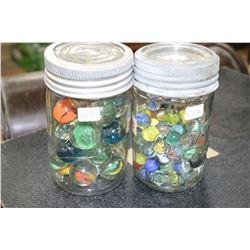 New Gem Pint Jar w/Lrg. Boulder Marbles & Improved Gem Pint Jar w/Small  Marbles