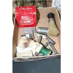 Shaving Brushes (3); Safety Razors (3); 2 Gillette Blade Holders w/Blades & Old Spice Shaving Mug Re