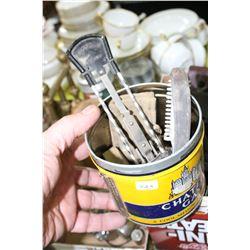 Patent Stropax Razor Sharpener; Tobacco Tin w/Razor Blades; Razor Parts and 2 Thinning Razors