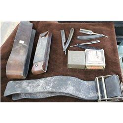 2 Honing Straps (1 is Barbers Special); 2 Velvet Hones (1 Dates 1931); a Sharpening Stones & 3 Razor