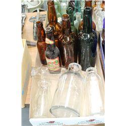 Flat w/3 Dairy Bottles; 5 Brown Bottles; 2 Green Bottles & 1 Heavy Clear Glass Bottle