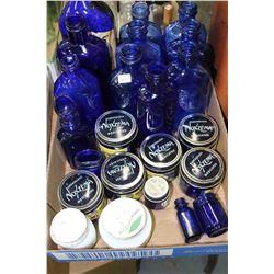 Flat of Blue Bottles, Noxzema & Cold Cream Jars, etc.