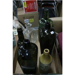 Flat w/Stacking Bottle; 3 Liquor Bottles; a Decanter & a Gingerbeer Bottle