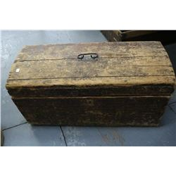 Old Handmade Small Hump Back Wooden Trunk