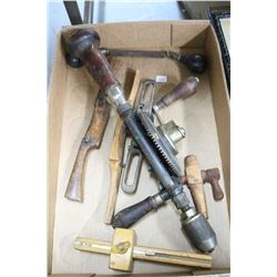 Flat w/Hand Drill; Small Spigot; 2 Spoke Shaves; a Small Draw Knife & a Scribe