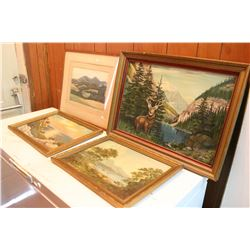4 Framed Scenery Pictures - 1 is an Oil on Canvas