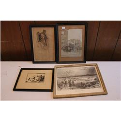 (4 pcs) 2 Framed Pencil Sketch Type Pictures; a 'Montreal From the Mountain' Print & a Calgary Fire