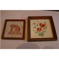 2 Framed Tiles (1 Horse & 1 Tulips)